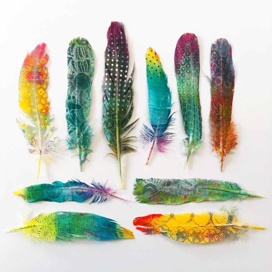 Gelli printed feathers - birgit koopsen.19